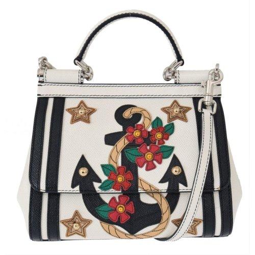c4e39e667d Dolce & Gabbana White Blue SICILY Sailor Anchor Leather Bag on OnBuy