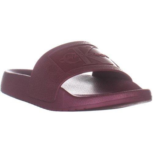 Calvin Klein Christie Jelly Logo Slide Sandals, Tawny Port, 4 UK