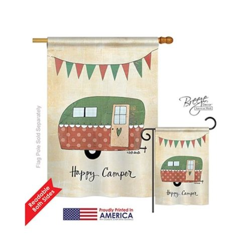 Breeze Decor 09046 Camper 2-Sided Vertical Impression House Flag - 28 x 40 in.