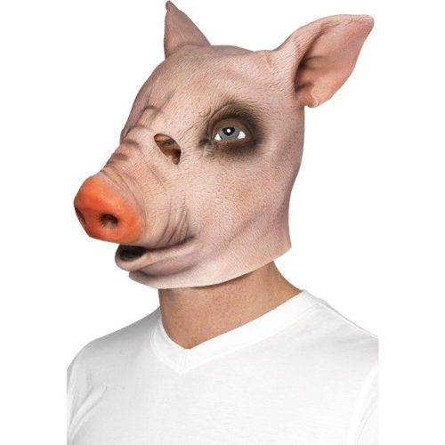 Adult's Pig Overhead Rubber Mask -  mask fancy dress pig adults smiffys costume overhead accessory animal Rubber