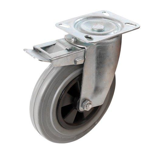 Fixman Heavy Duty Braked Rubber Castor 200mm 200kg -  fixman castor rubber 200kg braked 200mm heavy duty 921139 swivel