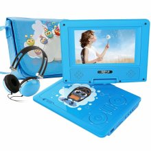 "FUNAVO 7.5"" Portable DVD Player with Headphone, Carring Case, Swivel Screen, 5 Hours Rechargeable Battery, SD Card Slot and USB Port (Blue)"