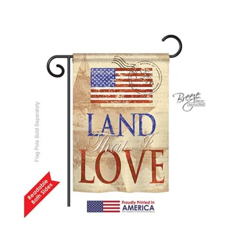 Breeze Decor 61054 Patriotic Land That I Love 2-Sided Impression Garden Flag - 13 x 18.5 in.