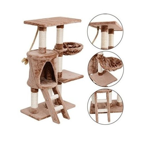 PawHut Cream & Brown Cat Activity Centre | Sisal Multi-Level Climbing Tree
