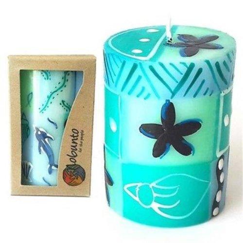 Single Boxed Hand-Painted Pillar Candle - Samaki Design