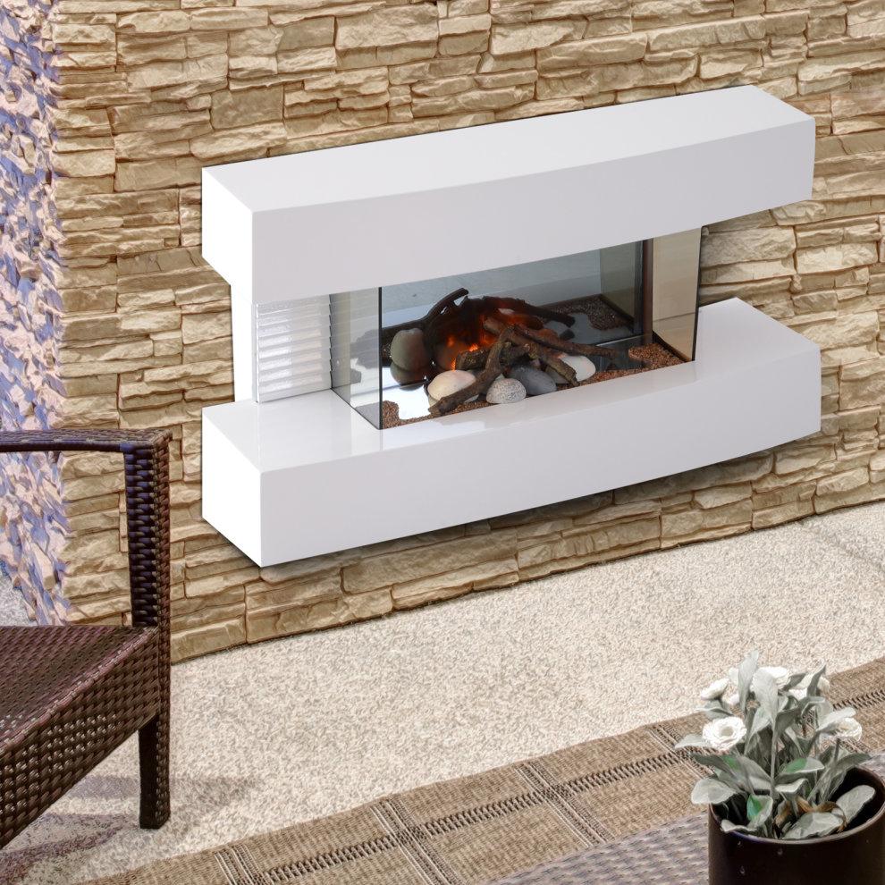 HOMCOM Electric Wall Mounted Fireplace Heater Log Flame ...