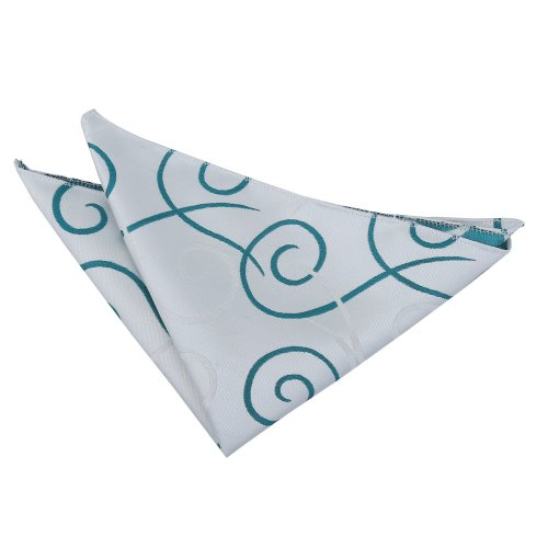 Silver & Teal Scroll Pocket Square