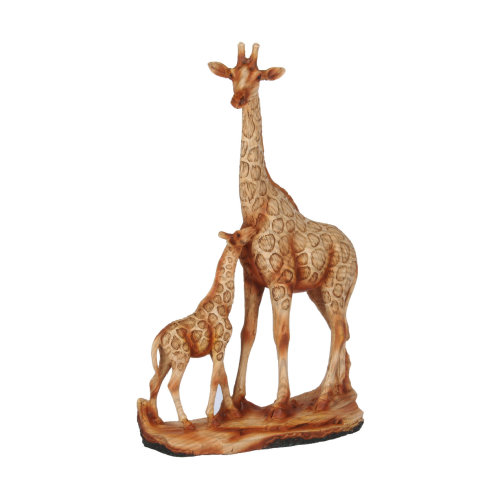 Naturecraft Wood Effect Giraffe and Baby Ornament