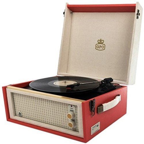 GPO Bermuda Classic Retro Style Turntable with MP3/USB/Built-In Speaker and Removable Legs - Red/Cream