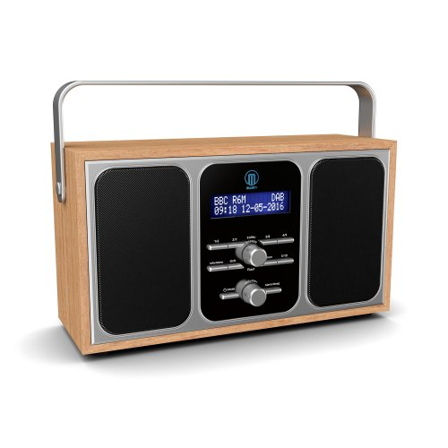 Majority Girton DAB+ DAB Digital & FM Portable Radio with Stereo Sound, Dual Alarm Clock, Wood Effect Finish, Mains Powered (Wooden)