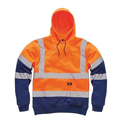 Dickies Two Tone Hi-Vis Hoodie Orange & Navy (Various Sizes) Men's Work Jumper