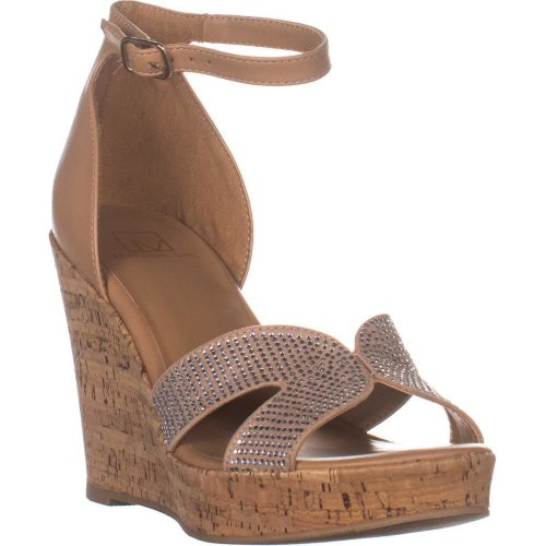 MG35 Bretta2 Wedge Ankle Strap Sandals, Nude Bling, 4.5 UK