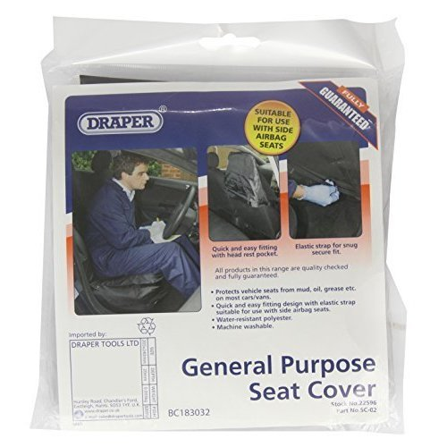 Black Draper Front Seat Cover - Side Airbag Compatible Polyester 22596 -  draper side airbag compatible polyester front seat cover 22596