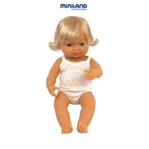Miniland Educational 31152 Baby doll white girl (40 cm- 15 6/8'')Case