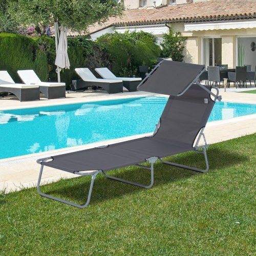 Outsunny Reclining Sun Lounger Recliner Chair Portable