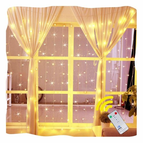 Ollny Window Curtain Light 192 LEDs Icicle Fairy String Christmas Lights for Bedroom Wedding Garden Patio Wall Outdoor Indoor Decoration Low...