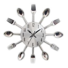 Kitchen Wall Clock Sliver Cutlery Clocks