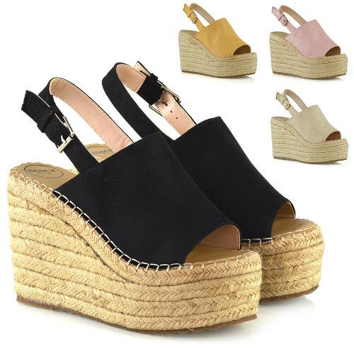 Womens Wedge Heel Sandals High Heel Platform Ladies Peeptoe Espadrille Shoes Size