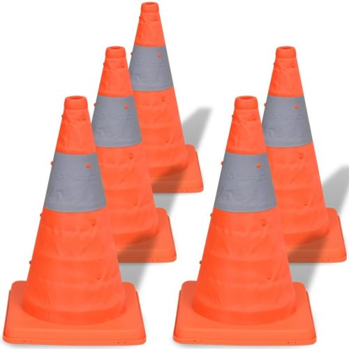 5 Pop-Up Car Traffic Warning Cones Orange Parking Safety Road Guard