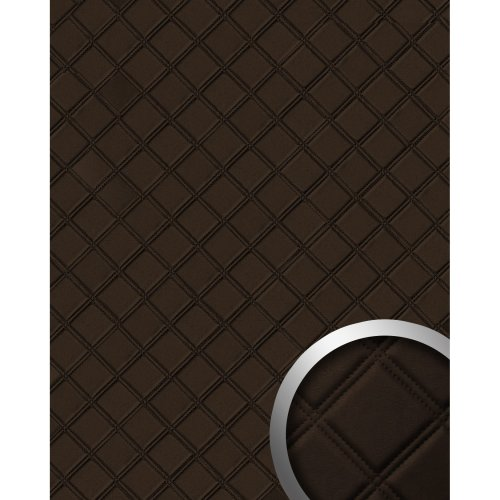WallFace 15037 ROMBO Wall panel leather square wall decor mocca-brown 2.60 sqm