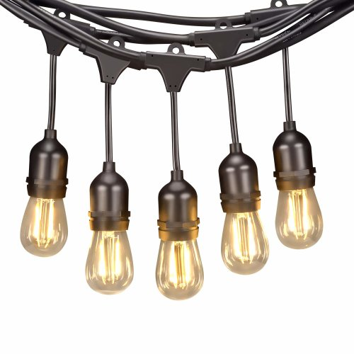 Led String Lights Hanging 15 1 Saving 2w Vintage Edison Bulbs 48ft Weatherproof Outdoor Indoor Festoon Create Comfortable Ambience For