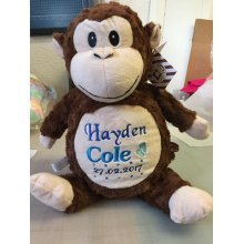 Cute Cuddly Monkey - Personalised Message, Name or Birth Date