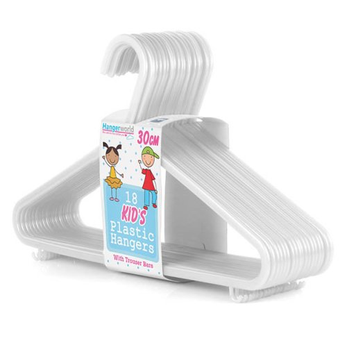 36 Quality Childrens White Plastic Hangers Clothes Coat Kids 30cm Hangerworld