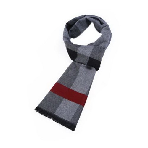 Men's Fashion Classic Scarf Black Gray Red Plaid Style Warm Scarf Gift For Lover