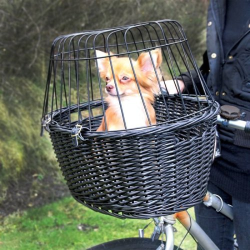 Black Bicycle Dog Basket Wicker