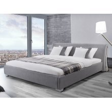 Upholstered Bed - Fabric - incl. stable slatted frame - Grey - PARIS