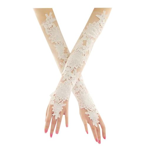 Women Bridal Long Lace Gloves Elbow Fingerless Wedding Party Costume Prom - A2