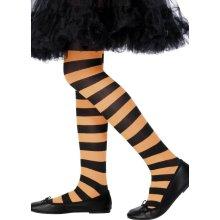 Smiffy's Tights Striped - Orange And Black, Age 6-12 Years -  tights striped orange black girls dress fancy halloween 612 costume accessory kids