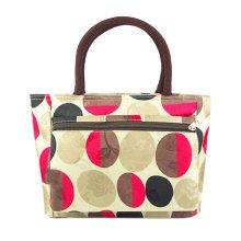 Creative Purse Handbag Big Dots Printed Tote Bag With Zipper For Ladies