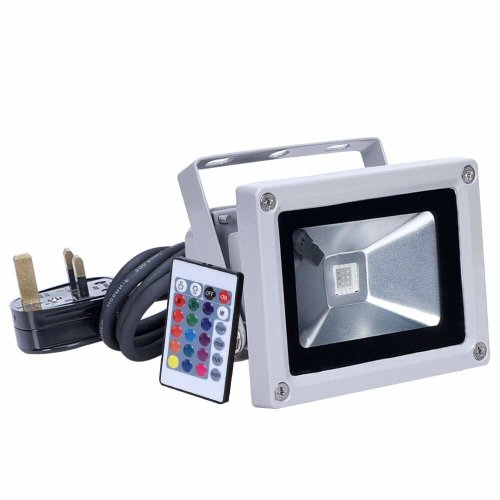 10W LED RGB Flood lights, Goodia Colour Changing LED Security Light IP65 Waterproof Floodlight16 colors spotlights with Remote control for...