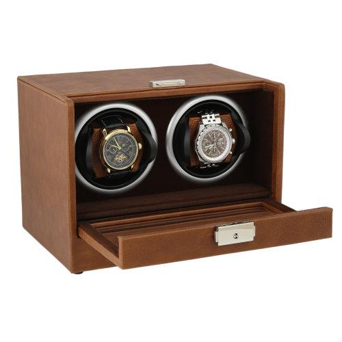 Brown Genuine Leather Dual Watch Winder Brown Velvet Lining by Aevitas