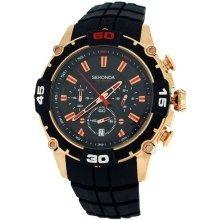 Sekonda Gents Analogue Date Chronograph Black Silicone Strap Sports Watch 3490