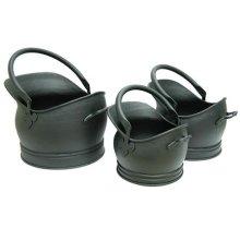 Black Inglenook Set Of 3 Premium Helmet Hods -  coal set inglenook buckets 3 traditional black ing004 fireside fireplace tools vintage