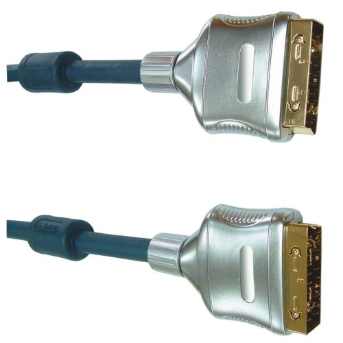 Black 5m Professional Multicore Screened Scart Plug To Scart Plug.  Blister