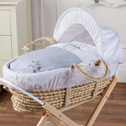 Brand New-My Little Star Moses Basket With Mattress And Bedding Silver