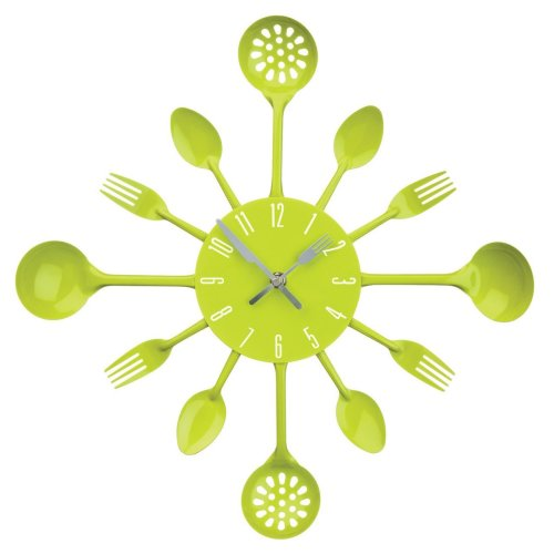 Kitchen Cutlery Wall Clock - Lime Green