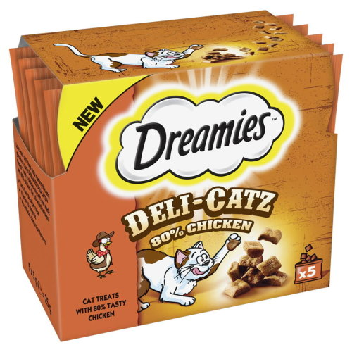 Dreamies Deli-catz Cat Treats With Chicken 5x5g Pack (Pack of 16)