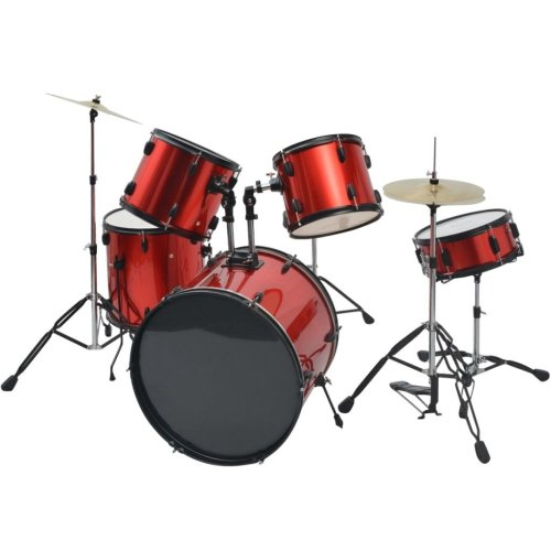 vidaXL Complete Drum Kit Powder-coated Steel Red Adult