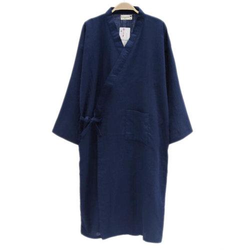Japanese Style Men Thin Cotton Bathrobe Pajamas Kimono Skirt Gown-D03