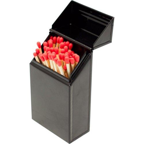 Valiant Fireside Match Holder & Tidy - Black Gloss Steel Storage Box (FIR241)