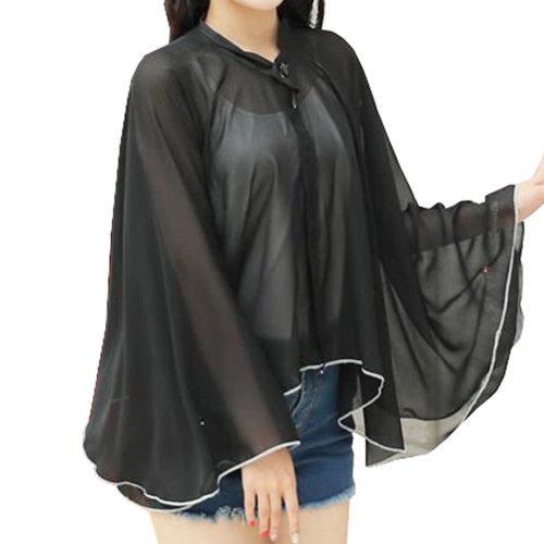 Sun Protective Clothing - Summer Chiffon Shawl Beach Coats Jackets-Black