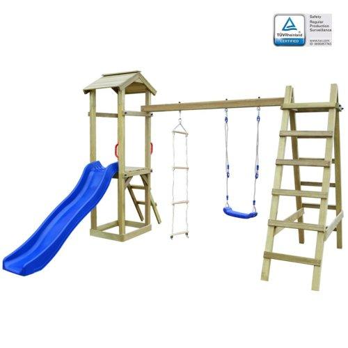vidaXL Playhouse with Slide Ladders Swing 286x237x218 cm FSC Wood