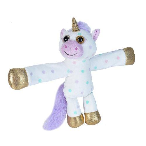 Wild Republic Huggers Soft Toy Slap Bracelet, Gifts for Kids, Polka Dot Unicorn Plush Toy 20 cm