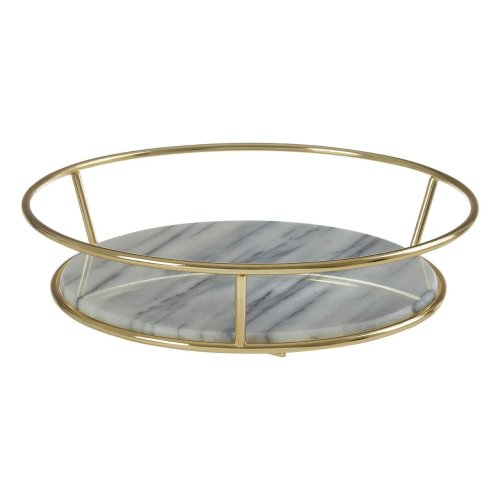 White Marble / Brass Finish Fruit Basket