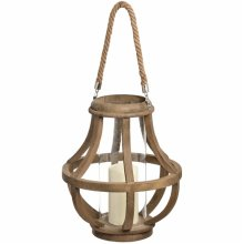 Wooden Cage Lantern With Glass Hurricane -