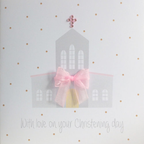 Christening card for girl, pretty church with 'gems' and organza bow